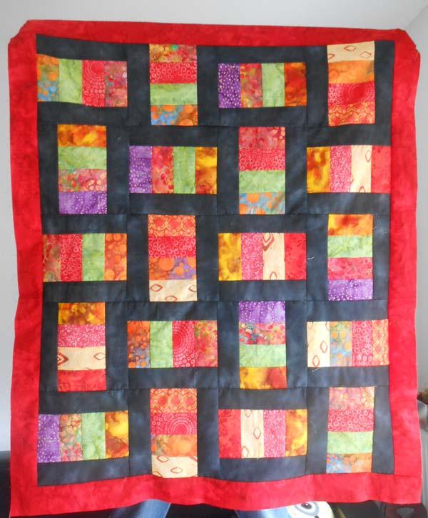 patchwork machine avec tissu batiks