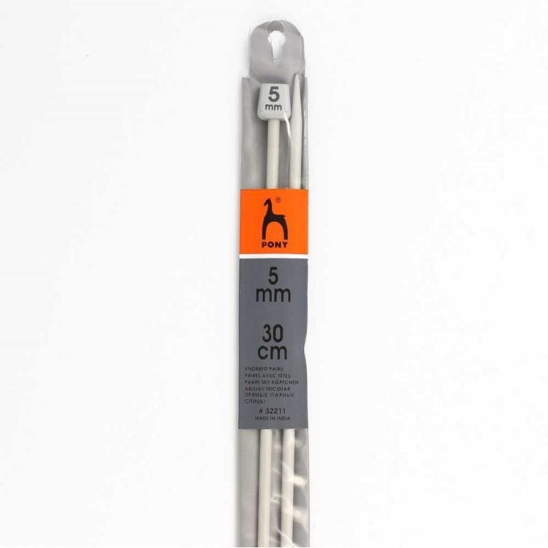 Aiguille à tricoter aluminium 30cm n°5-PONY