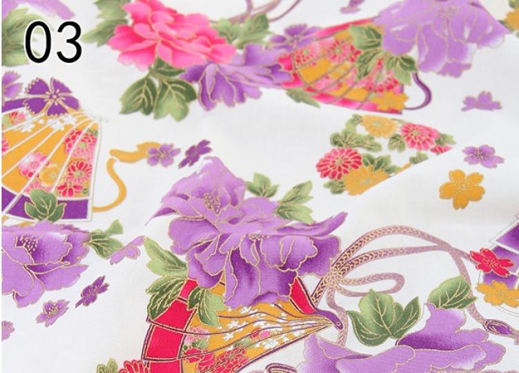 tissus japonais motif éventail et fleur