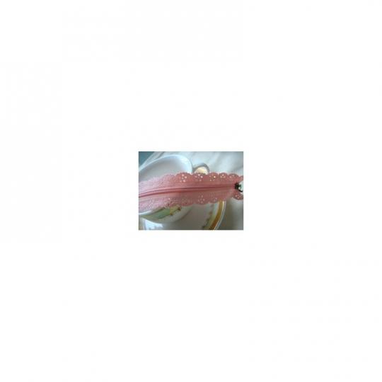 Fermeture éclair dentelle rose