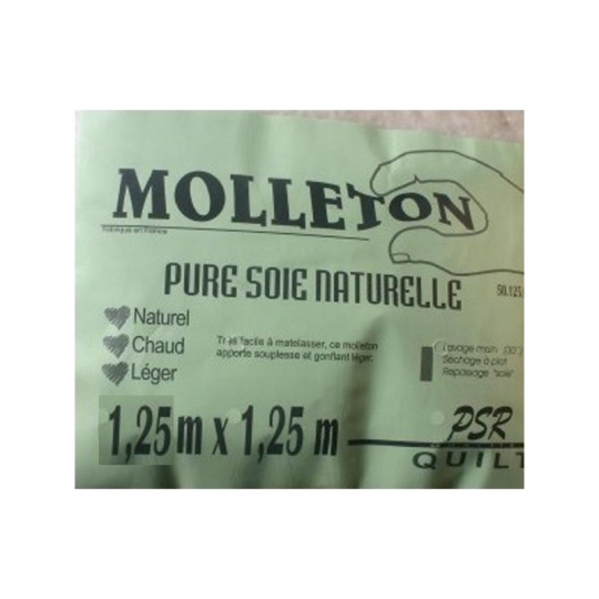 molleton pure soie naturelle 1.25 x 1.25m