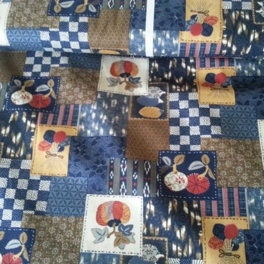 Tissus japonais bleu marine et marron
