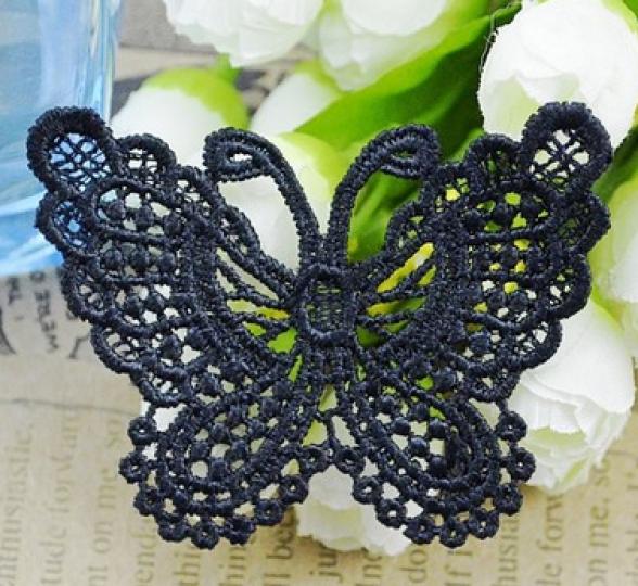 motif dentelle papillon noir