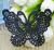 Motif dentelle en forme de papillon couleur noire
